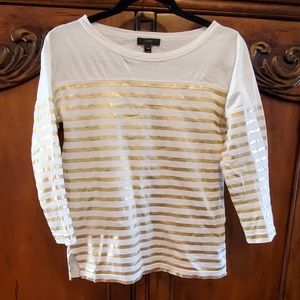J Crew cream and metalic gold stripe 3/4 sleeve to